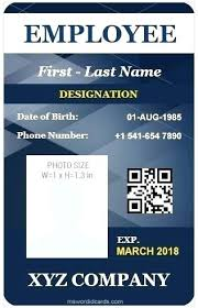Vertical Design Employee Id Card Template Word Free Download