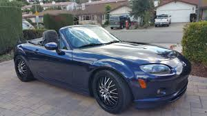 mazda miata mx 5 convertible clean title on a 2 door 6 sd manual transmission with low miles 56 k stormy blue blk canvas top blk interior with
