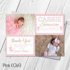 Personalised Photo Boy Girl Thank You Card New Baby Boy Girl