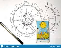 Difficult Natal Chart Astrology Natal Chart Tarot The Moon Stock Illustration