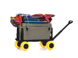 plus one beach cart pull wagon all terrain dolly kart trolley flatbed wagons and carts for sand with 4 rolling wheels to haul equipment gear cooler umbrella