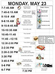 Daily Routine Chart For 9 Year Old Ideas For Picture Schedules For Kids Sample Schedule For 5