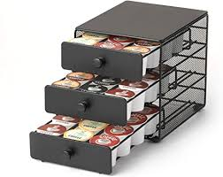 Small tray holds one insert. Amazon Com Nifty Coffee Pod Drawer Black Satin Finish Compatible With K Cups 36 Pod Pack Capacity Rack 3 Tier Holder Storage Stylish Home Or Office Kitchen Counter Organizer Kitchen Dining