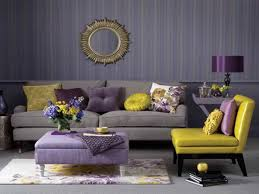 Purple Decorating Living Rooms Stylish Living Room Using Stripes Wallpaper And Yellow Purple