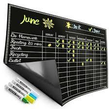 Magnetic Chore Chart For Kids 4 Chalk Markers Children S Dry Erase Chalkb