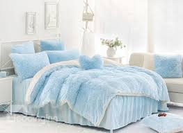 62 solid light blue and white color blocking fluffy 4 piece bedding sets duvet cover