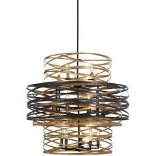 vortic flow 18 light dark bronze chandelier with mosaic gold interior