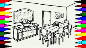 Coloring Pages Dining Table And Chairs L Mirror Room Drawing To