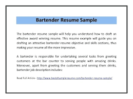 Sample Bartender Resume Bar Tender Resume Bad Resume Examples Good