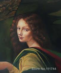 paintings by leonardo da vinci the virgin of the rocks detail young woman canvas