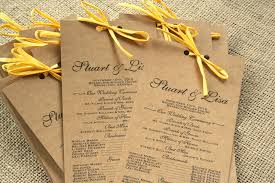 kraft sofia invitations blog Kraft Paper Cardstock Wedding Invitations you can buy your rustic wedding program in the sofia invitations etsy shop they can also be printed on white or cream card stock, and with or without a bow kraft cardstock wedding invitations