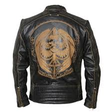 vintage motorcycle jacket mens leather jacket cowhide black skull genuine leather jacket biker