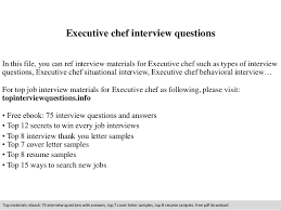 Executive Chef Interview Questions Executive Chef Interview Questions