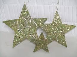 Weihnachtsdeko 3 X Sterne Gold Dekoration Christbaumschmuck