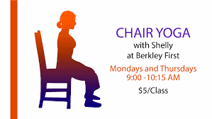 chair yoga. looking for a gentle yoga class? chair is practiced while sitting on or using the balance. increase strength and flexibility