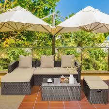5 piece rattan patio furniture set