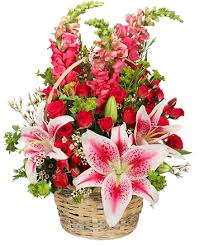 100 lovable basket of flowers