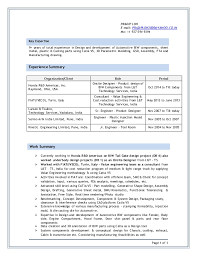 Resume Format For Experienced Mechanical Engineer Best Cv For