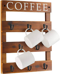 This unit allows you to store 45 coffee mugs. Amazon Com 13 X 17 Coffee Mug Holder Wall Mounted Rustic Wood Cup Organizer With 8 Hooks For Home Kitchen Display Storage And Collection Walnut Color Home Improvement