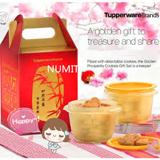 Small Picture Tupperware Chinese New Year Golden Prosperity Cookies Gift Set