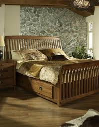 Bedroom: Frame Storage Ideas Bedroom Ideas Queen Frame King Size Sleigh Bed  And Stone Wall