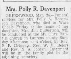 Polly Robertson davenport - Newspapers.com