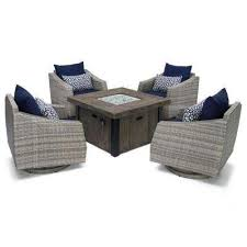 cannes 5 piece motion wicker patio fire pit conversation set with navy blue sunbrella cushions
