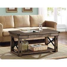 22 in l altra wildwood wood veneer coffee table in rustic gray bca living room furniture