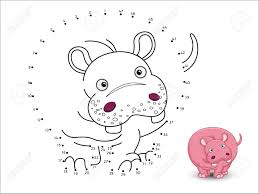 Hippo Cartoon Connect The Dots And Color Page Sheet Royalty Free