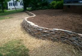 velvet gray thin veneer dry stack stone retaining wall w curves aged