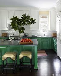 great coordination of kelly green and white cabinets
