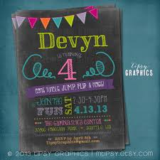 bouncy house chalkboard bounce birthday invitation tumble jump flip more trampoline bouncy house little gym invite by tipsy graphics
