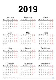 Calendar Year 2019 Printable 2019 Yearly Calendar Printable Printable 2017 2018 2019 2020 Calendar