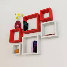 home decor wall shelves red white
