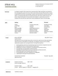 Fashion Resume Templates Retail Cv Template Sales Environment Sales  Assistant Cv Shop Printable