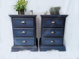 bedside tables presented in navy blue