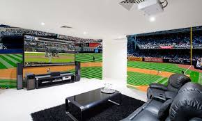 man cave with eazywallz wall murals