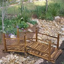 com wooden bridge 5 stained finish decorative solid wood garden pond bridge new garden outdoor