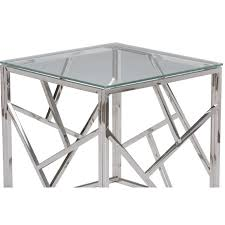 aero chrome glass side table modern furniture brickell collection coffee