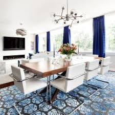 E Contemporary Dining Room With Blue Rug