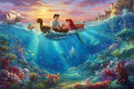 Woody, buzz and the toys together. Disney Little Mermaid Falling In Love Limited Edition Canvas Thomas Kinkade Studios