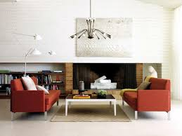 classic living room with red sofa