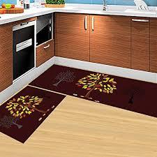 kitchen rugs set of 2 piece non slip kitchen mat and rug rubber backing doormat runner rug set machine washable 16 x47 16 x24 brown