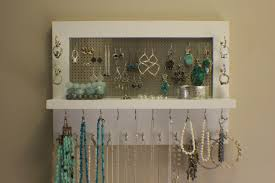 Hanging Necklace Organizer Beautiful Painted White Wall Mounted Jewelry Organizer Wall