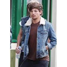 one direction louis tomlinson denim jacket with fur collar