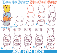 cat drawing step by step. Wonderful Cat How To Draw Cute Kawaii Cats Stacked On Top Of Each Other  Easy Step By In Cat Drawing By S