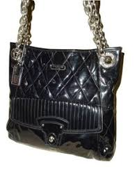 Coach Poppy Liquid Gloss Slim North South 18673 Black Patent Leather Vinyl  Tote - Tradesy