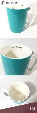 Lenox french perle white trellis coffee mug 12 oz. Kate Spade Lenox Coffee Mug Aqua Seize The Day 14z Coffee Mugs Coffee And Tea Accessories Mugs