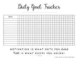 Daily Habit Tracker A Printable Goal Tracker Daily Goals