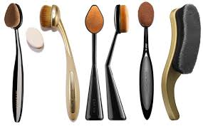 artis brushes gold. dupes of artis brush left to right missha professional oval, etude house my beauty tool brushes gold l
